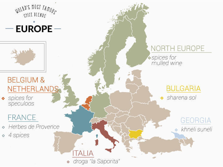 Map of european spice mixes